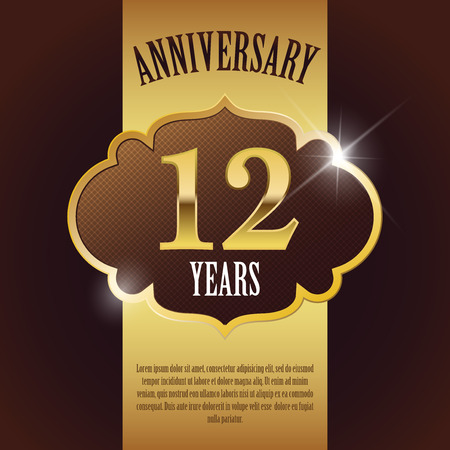 12 Year Anniversary  - Elegant Golden Design Template   Background   Seal