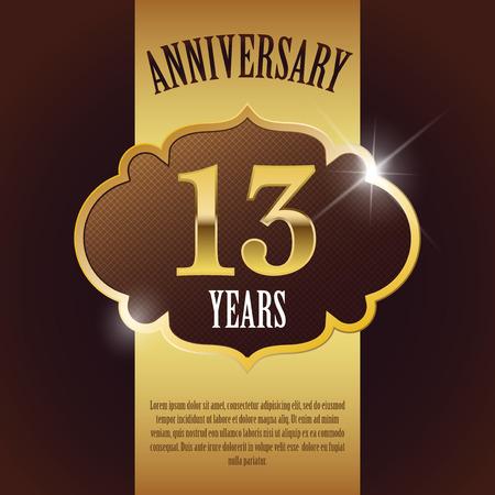 13 Year Anniversary  - Elegant Golden Design Template   Background   Seal Ilustração