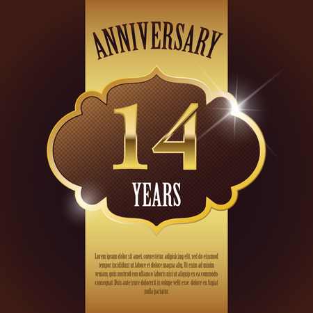 number 14:  14 Year Anniversary  - Elegant Golden Design Template   Background   Seal