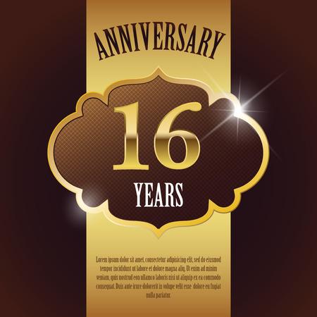number 16:  16 Year Anniversary  - Elegant Golden Design Template   Background   Seal Illustration