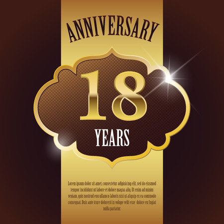 18th:  18 Year Anniversary  - Elegant Golden Design Template   Background   Seal