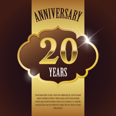20 周年記念-エレガントな黄金のデザイン テンプレートの背景シール