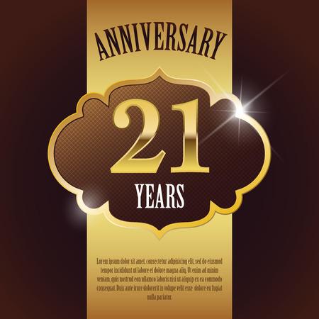 21 Year Anniversary  - Elegant Golden Design Template   Background   Seal Ilustração