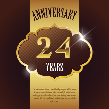 number four:  24 Year Anniversary  - Elegant Golden Design Template   Background   Seal Illustration