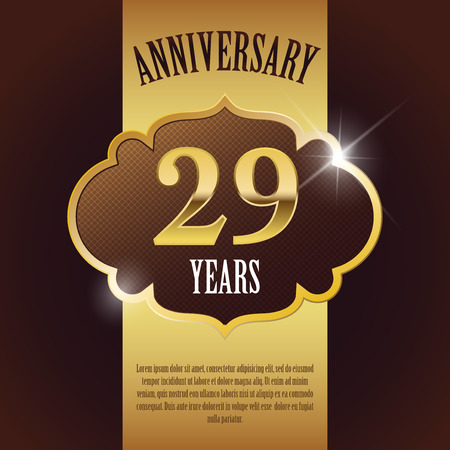 29 Year Anniversary  - Elegant Golden Design Template   Background   Seal Vector