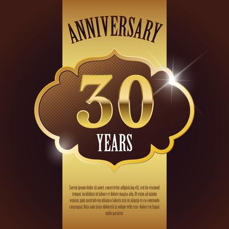 30 Year Anniversary  - Elegant Golden Design Template   Background   Seal 向量圖像