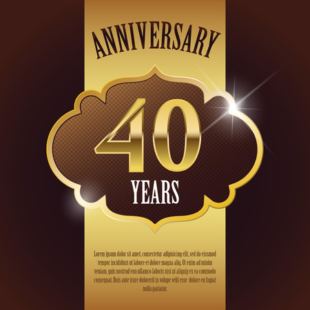 40 Year Anniversary  - Elegant Golden Design Template   Background   Seal Vector