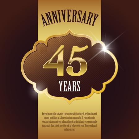 45:  45 Year Anniversary  - Elegant Golden Design Template   Background   Seal Illustration