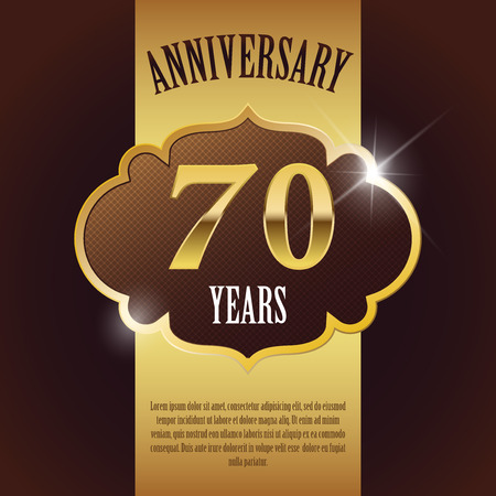 seventieth:  70 Year Anniversary  - Elegant Golden Design Template   Background   Seal