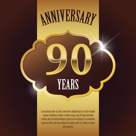 90 Year Anniversary  - Elegant Golden Design Template   Background   Seal Vector