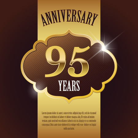 anniversary:  95 Year Anniversary  - Elegant Golden Design Template   Background   Seal Illustration