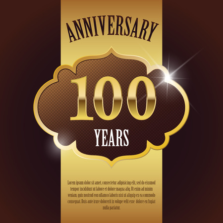 100 Year Anniversary  - Elegant Golden Design Template   Background   Seal 일러스트