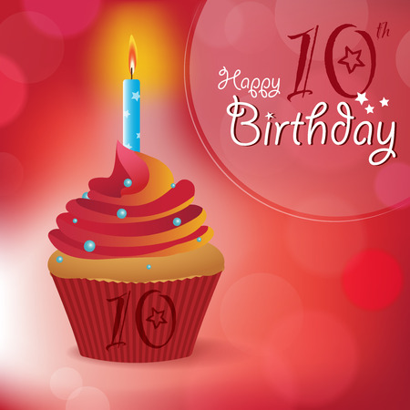 cupcake illustration: Happy 10th Birthday greeting  invitation  message - Bokeh Vector Background with a candle on a cupcake