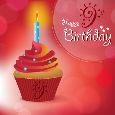 9th: Happy 9th Birthday greeting  invitation  message - Bokeh Vector Background with a candle on a cupcake