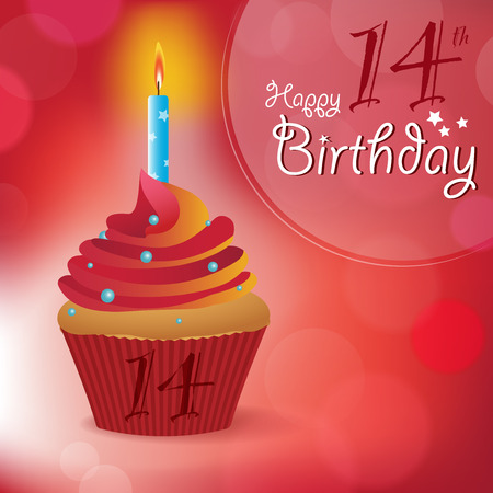 cakes background: Happy 14th Birthday greeting  invitation  message - Bokeh Vector Background with a candle on a cupcake