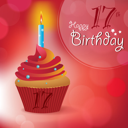 17th: Happy 17th Birthday greeting  invitation  message - Bokeh Vector Background with a candle on a cupcake
