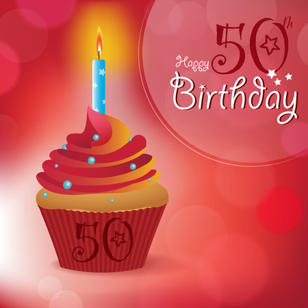 fifty: Happy 50th Birthday greeting  invitation  message - Bokeh Vector Background with a candle on a cupcake