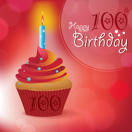 bokeh message: Happy 100th Birthday greeting  invitation  message - Bokeh Vector Background with a candle on a cupcake Illustration