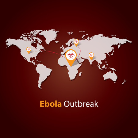 ebola: Ebola outbreaks concept on a world map vector illustration
