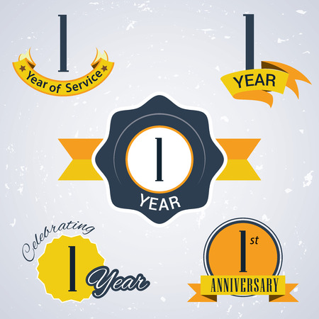 incorporation: 1 year of service,  1 year,   Celebrating 1 year,   1st Anniversary - Set of Retro vector Stamps and Seal for business Illustration