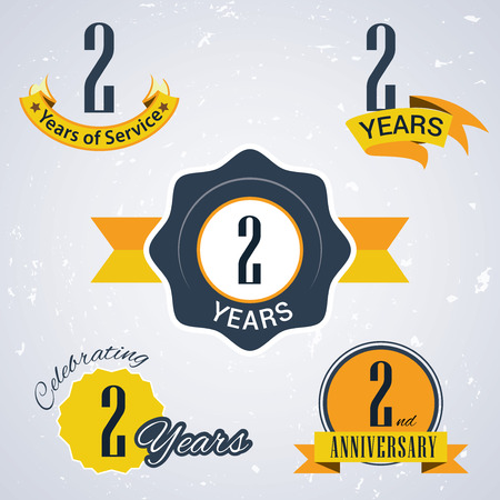 incorporation: 2 years of service,  2 years,   Celebrating 2 years ,  2nd Anniversary - Set of Retro vector Stamps and Seal for business