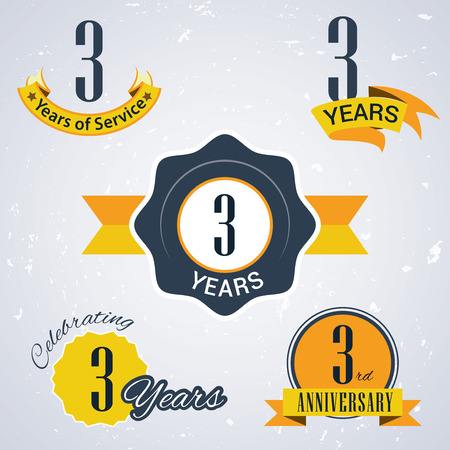 3 years of service , 3 years,   Celebrating 3 years,   3rd Anniversary - Set of Retro vector Stamps and Seal for business 일러스트