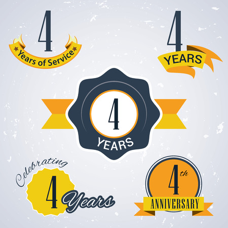 incorporation: 4 years of service,  4 years,   Celebrating 4 years,   4th Anniversary - Set of Retro vector Stamps and Seal for business