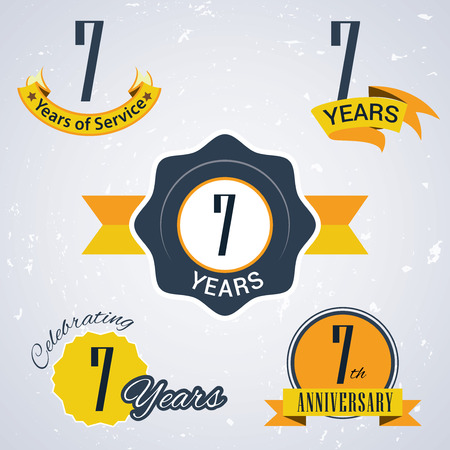 7 years of service,  7 years,   Celebrating 7 years,   7th Anniversary - Set of Retro vector Stamps and Seal for business Vector