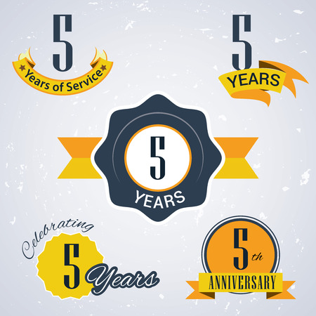 5th: 5 years of service,  5 years,   Celebrating 5 years,   5th Anniversary - Set of Retro vector Stamps and Seal for business