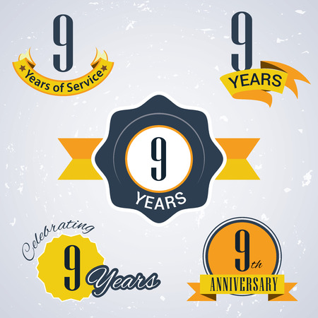 9th: 9 years of service  ,9 years   ,Celebrating 9 years ,  9th Anniversary - Set of Retro vector Stamps and Seal for business