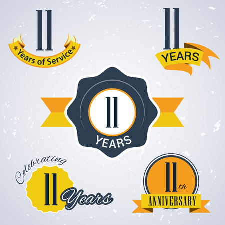 11 years: 11 years of service,  11 years  , Celebrating 11 years,   11th Anniversary - Set of Retro vector Stamps and Seal for business