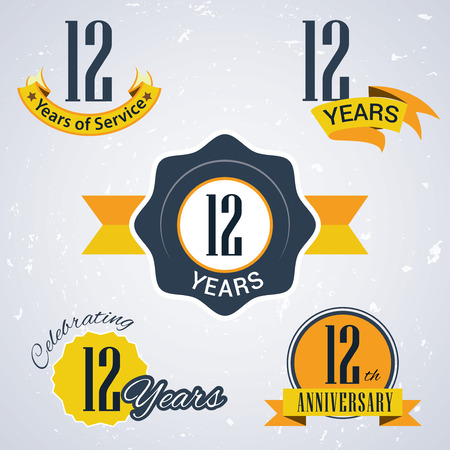 incorporation: 12 years of service , 12 years ,  Celebrating 12 years,12th Anniversary - Set of Retro vector Stamps and Seal for business
