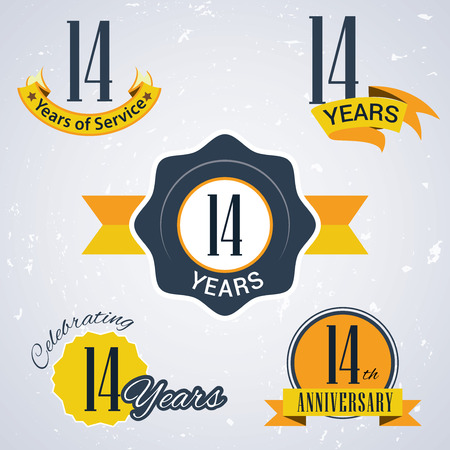 number 14: 14 years of service , 14  years , Celebrating 14 years,14th Anniversary - Set of Retro vector Stamps and Seal for business