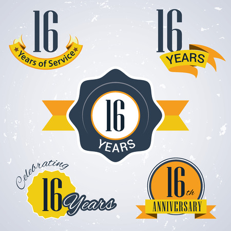 16 years: 16 years of service,  16 years,   Celebrating 16 years ,  16th Anniversary - Set of Retro vector Stamps and Seal for business Illustration
