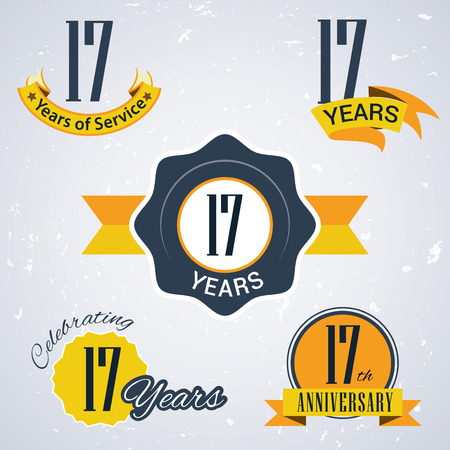 17th: 17 years of service,  17 years,   Celebrating 17 years,17th Anniversary - Set of Retro vector Stamps and Seal for business