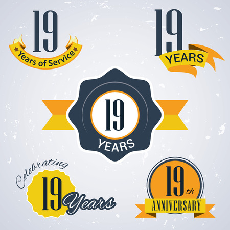 19 years: 19 years of service,  19 years,   Celebrating 19 years,   19th Anniversary - Set of Retro vector Stamps and Seal for business Illustration