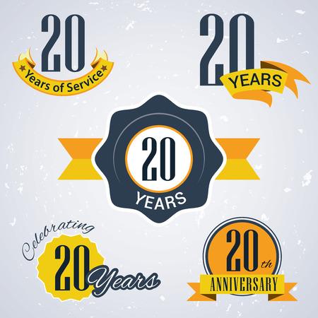 dienstverlening: 20 jaar van de dienst, 20 jaar, vieren van 20 jaar, 20ste verjaardag - Set van Retro vector Stempels en Seal voor het bedrijfsleven