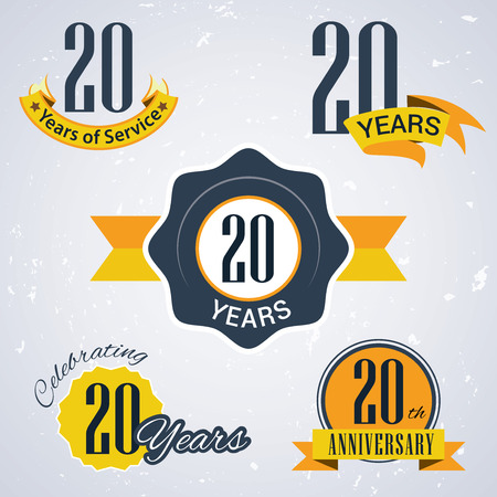 20 years of service, 20 years, Celebrating 20 years, 20th Anniversary - Set of Retro vector Stamps and Seal for business