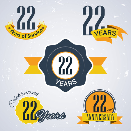 22 years of service,  22 years,   Celebrating 22 years,   22nd Anniversary - Set of Retro vector Stamps and Seal for business