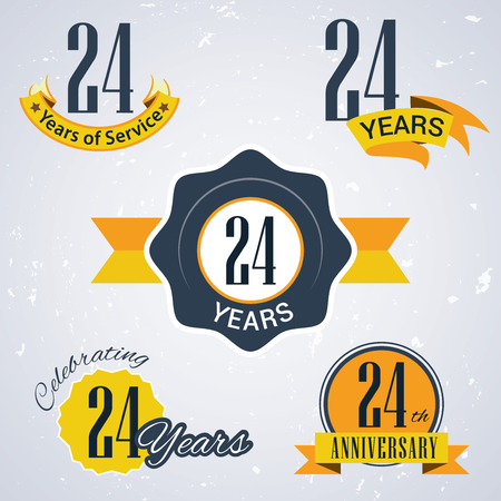 incorporation: 24 years of service,  24  years,   Celebrating 24 years ,  24th Anniversary - Set of Retro vector Stamps and Seal for business