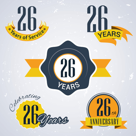 26: 26 years of service,  26 years, Celebrating 26 years,   26th Anniversary - Set of Retro vector Stamps and Seal for business