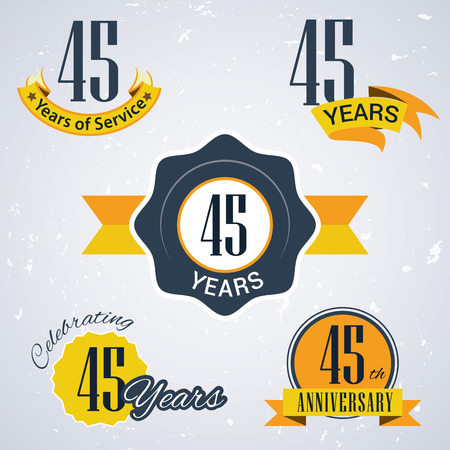 45 years of service,  45 years ,  Celebrating 45 years,   45th Anniversary - Set of Retro vector Stamps and Seal for business