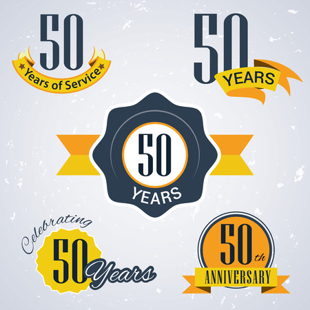 50 years of service,  50 years,   Celebrating 50 years,   50th Anniversary - Set of Retro vector Stamps and Seal for business Ilustração
