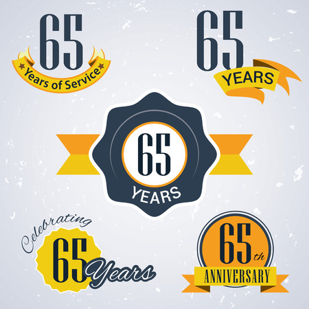 65th: 65 years of service,  65 years,   Celebrating 65 years,   65th Anniversary - Set of Retro vector Stamps and Seal for business