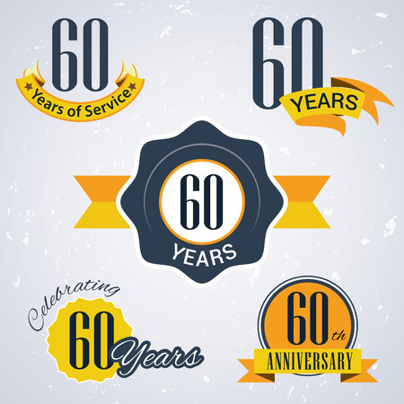 incorporation: 60 years of service, 60 years , Celebrating 60 years , 60th Anniversary - Set of Retro vector Stamps and Seal for business