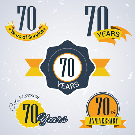 seventieth: 70 years of service, 70 years , Celebrating 70 years , 70th Anniversary - Set of Retro vector Stamps and Seal for business