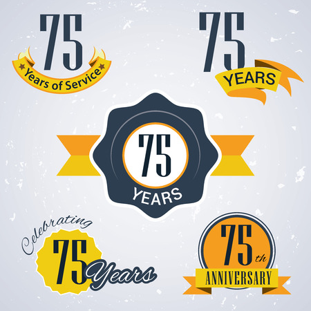 incorporation: 75 years of service, 75 years , Celebrating 75 years , 75th Anniversary - Set of Retro vector Stamps and Seal for business Illustration