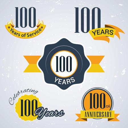 サービスは、100 年を祝う 100 年 100 周年記念 100 周年レトロの設定ベクトル スタンプやシールのビジネスのため