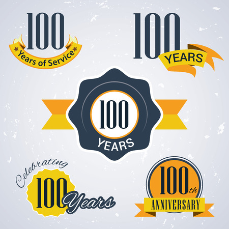 incorporation: 100 years of service, 100 years , Celebrating 100 years , 100th Anniversary - Set of Retro vector Stamps and Seal for business