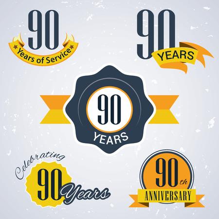 90 years: 90 anni di servizio, 90 anni, celebrando 90 anni, 90 � Anniversario - Set di Retro vettore Francobolli e sigillare per le imprese